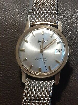 £199 • Buy Accurist Mens 9k Gold 21 Jewels Automatic Shockmaster Vintage Watch