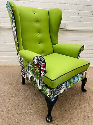 £725 • Buy Parker Knoll Wing Back Chair Upholstered In Designers Guild Velvet And Wool