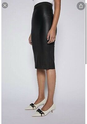 AU570 • Buy Scanlan Theodore Black Stretch Leather Pencil Skirt Size 8 BNWT RRP $800Sold Out