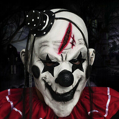 £8.98 • Buy Clown Mask Latex Over Head Halloween Evil Multicolor Hair Scary Accessory Party