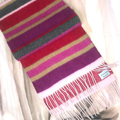 £18.50 • Buy Pure Cashmere  Soft Warm Winter Scarf 11x52 By Sutton Studio Purple Pink Lines