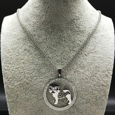 £8.99 • Buy Women Silver Color Statement Necklace Fashion Pug Crystal Stainless Steel Chains