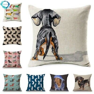 £12.59 • Buy Dachshund Gifts Dog Cushion Covers Sausage Dog Painting Cotton Linen Decorative