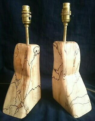 £119.99 • Buy Pair Sculptural Spalted Wood Lamps Hand Crafted Artisan Natural Unique Driftwood