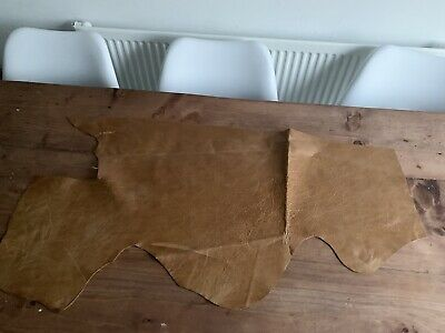 £16 • Buy Distressed Tan Leather Hide Piece - Aged Tan Distressed Leather Offcut