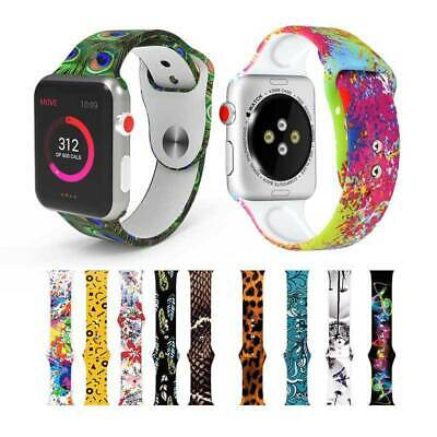 AU14.99 • Buy For Apple Watch Series 5 4 3 2 38-44mm Printed Silicone Sport Strap Band Replace