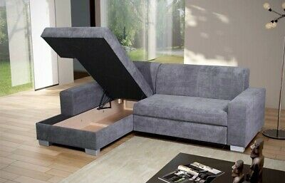 £699 • Buy *** BRAND NEW*** Miami Grey Fabric Corner Sofa Bed Cheap LEFT RIGHT With Storage