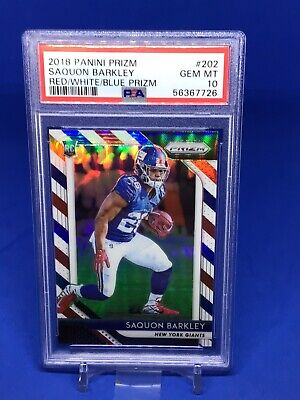 AU30.31 • Buy 2018 Prizm Football Saquon Barkley Rookie RC Red White And Blue PSA 10 Parallel
