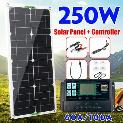 £49.92 • Buy 250W Solar Panel Complete Kit Dual 12V With 100A Controller Home Caravan Boat
