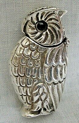 £21 • Buy Antique Sterling Silver  Owl  Vesta Case With Glass Eyes
