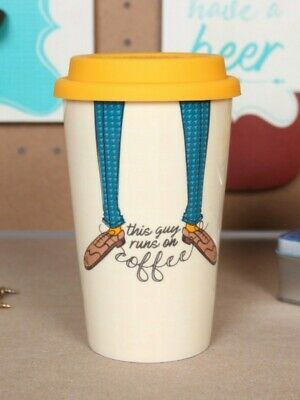 £7.99 • Buy This Guy Runs On Coffee - Ceramic Thermal Travel Mug With Lid - Gifts For Him