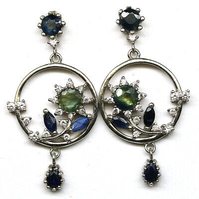 AU13.46 • Buy Natural Blue Sapphire & White Cz  Earrings 925 Sterling Silver
