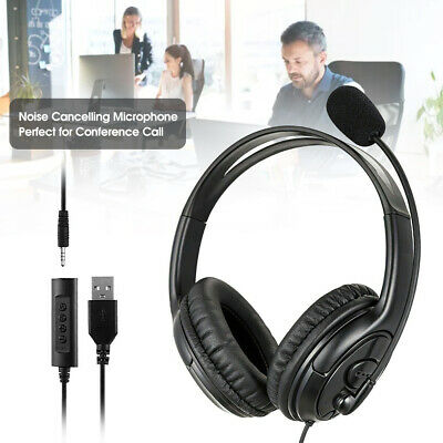 £12.65 • Buy 2 In 1 Headphones Headset Stereo For Skype PC Laptop Noise Canceling Microphone