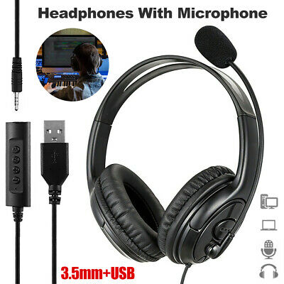 £12.65 • Buy Light-Weight USB Wired Headset Headphones W Microphone For Laptop Skype Zoom UK