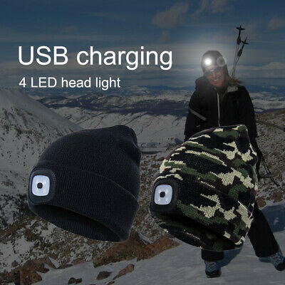 £4.79 • Buy Unisex LED Light Camo Winter Knitted Warm Beanie Hat Thermal USB Rechargeable