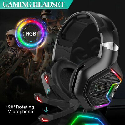 AU34.99 • Buy 3.5mm Gaming Headset MIC LED Headphones Surround For PC Mac Laptop PS4 Xbox One