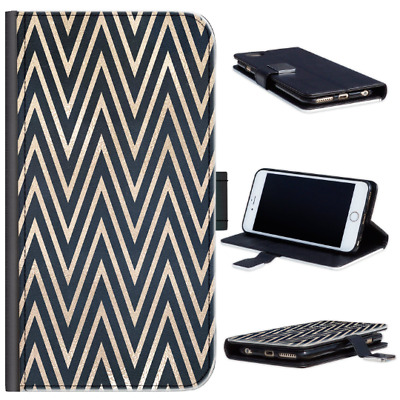 AU12.86 • Buy Gold & Black Chevron Phone Case For IPhone 13/12/11/Pro, PU Leather Flip Cover