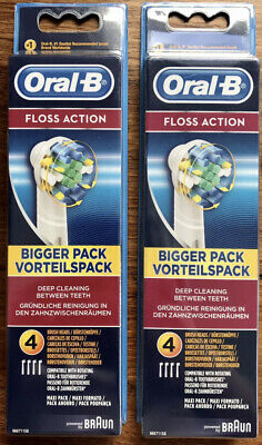 AU24.83 • Buy 2x Oral-B Braun FLOSS ACTION Toothbrush Heads Electric Replacement 2x 4 Pack