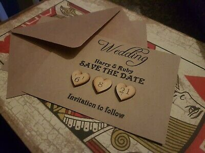 AU18.54 • Buy PERSONALISED Rustic Save The Date Cards Kraft Wedding Wooden Heart X 10 Set