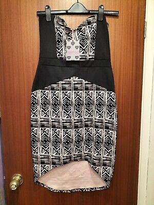 £11.99 • Buy Boohoo-NWT-Strapless Black Patterned High Low Dress, Size 16