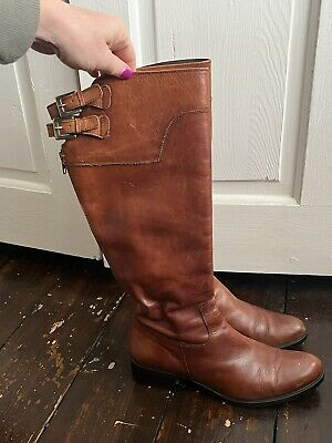 £10 • Buy Tan Leather Knee Boots Size 6