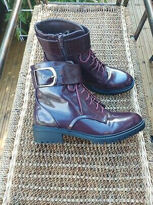 £12 • Buy M&s Burgundy Brown Vegan Ankle Boots Size Uk 6 Excellent Condition As Worn Once!