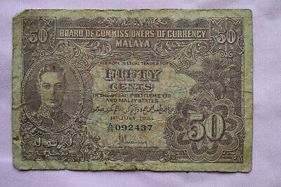 £1.49 • Buy Board Of Commissioners Of Currency MALAYA Fifty 50 Cents 1st July '41 A24 092437