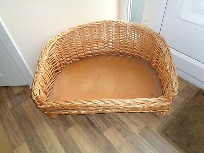 £9.95 • Buy Raised Cane Wicker Woven Dog / Cat Bed Pet Basket