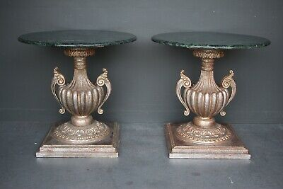 AU6850 • Buy Rare Impressive Pair Antique Carved Silver Gilt Tables Green Marble Tops Italian