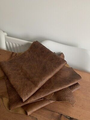 £25.50 • Buy Distressed Brown Leather Hide Pieces - Aged Distressed Leather Cowhide Offcuts