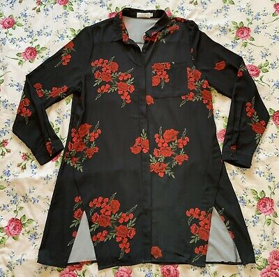AU1.82 • Buy In The Style Black Floral Print Shirt Dress Size 14