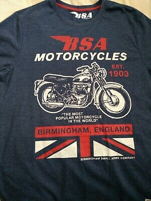£7.99 • Buy BSA Motorcycle T Shirt,  Med, 38-40  Chest. Blue. New, NOS.