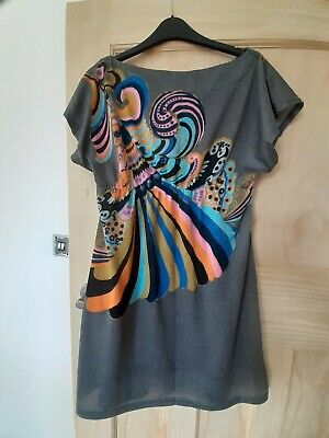 £2 • Buy Pussycat London Size Large Grey With Bright Pattern Short Dress