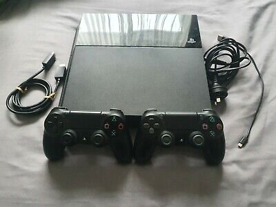 AU290 • Buy PlayStation 4 (PS4) 500gb Console With 2 X Black Controllers - Works Perfectly
