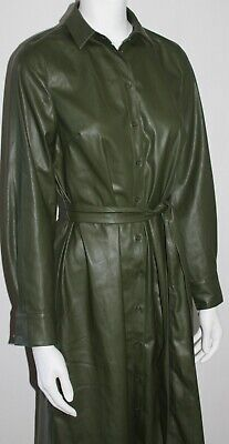 £14.99 • Buy Green V By Very Button Front Faux Leather Pleather Shirt Dress - Size 16 & BNWT