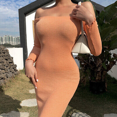 £15.99 • Buy Women Sexy Off Shoulder Long Sleeves Bodycon Wrap Dress Slim Fit Party Ball Gown