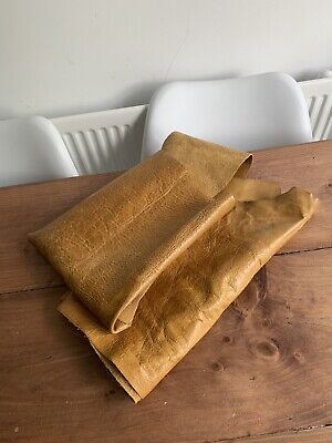 £22.50 • Buy Distressed Tan Leather Hide Pieces - Aged Light Tan Distressed Leather Offcuts