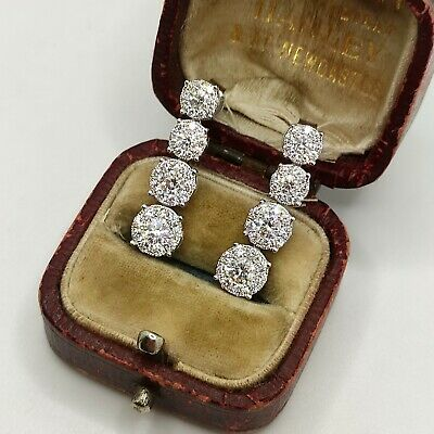 £1045 • Buy Stunning 18ct White Gold 1.4ct Diamond Cluster Dangle Tiered Earrings Droppers