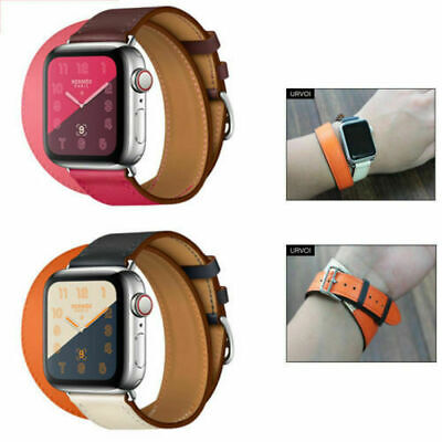 AU17.99 • Buy Leather Strap For Apple Watch Series 5 4 3 2 1 With Classic Buckle Wrist Band