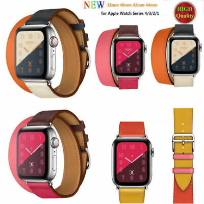 AU17.99 • Buy Leather Band Strap For Apple Watch Series 5 4 3 2 1 With Classic Buckle