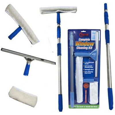 £9.99 • Buy Window Cleaning Kit Telescopic Pole Cleaner Home Car Van Squeegee Washer New