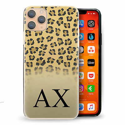 AU15.41 • Buy Personalised Initial Phone Case, Yellow Leopard Spot Print Hard Cover With Name