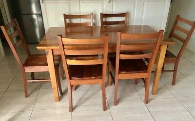 AU350 • Buy Tasmania Blackwood Solid Timber Dining Room Table And Chairs