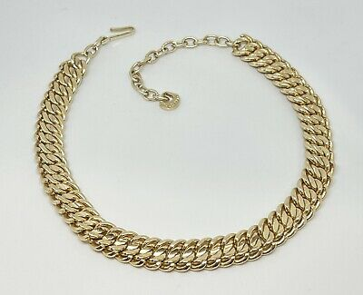 £14.52 • Buy Vintage Gold Tone ELOXAL Flat Snake Curb Chain Choker Necklace 50's WEST Germany