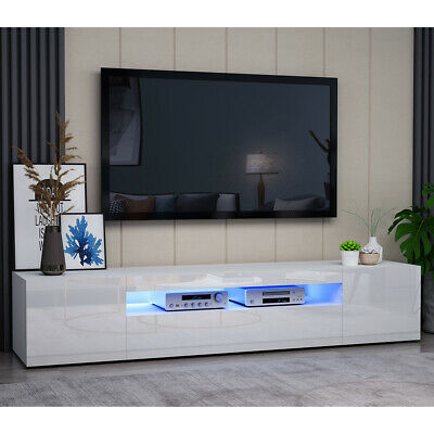 £99 • Buy 200CM White TV Unit Stand Display Cabinet Stand 2 Doors W/ FREE LED RGB Lights