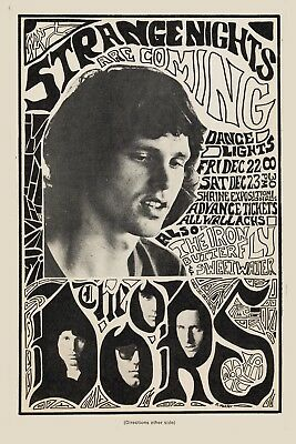 $12 • Buy  The Doors & Iron Butterfly At Shrine Auditorium  Concert Poster 1968  13x19
