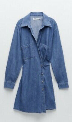 £13 • Buy Zara The Erin Blue Denim Button Dress Size M Brand New With Tags