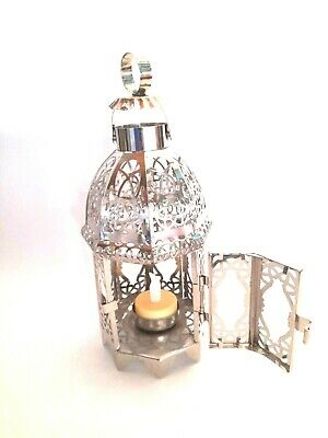 £9.99 • Buy Moroccan Tea Light Led Candle Metal Silver Lantern Holders Home Decor Gift Relax