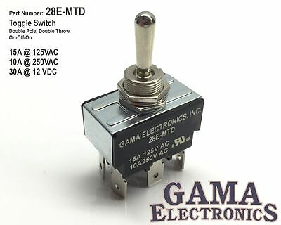 30 Amp Double Pole Double Throw 3 Position On-Off-On Toggle Switch - 28E-MTD • 15.95$