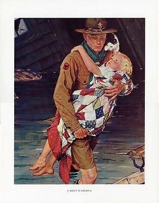 $ CDN46.66 • Buy Norman Rockwell Boy Scout Print A SCOUT IS HELPFUL 1941